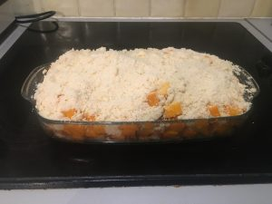 Crumble de butternut avant cuisson